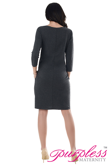 Purpless Maternity Woman Casual Pregnancy Dress with Pockets 6107