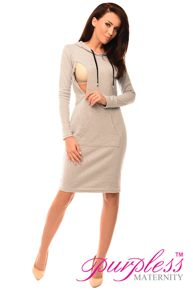 Maternity Pregnancy and Nursing Hooded Bodycon Dress with Pocket ... 4147ce1991b