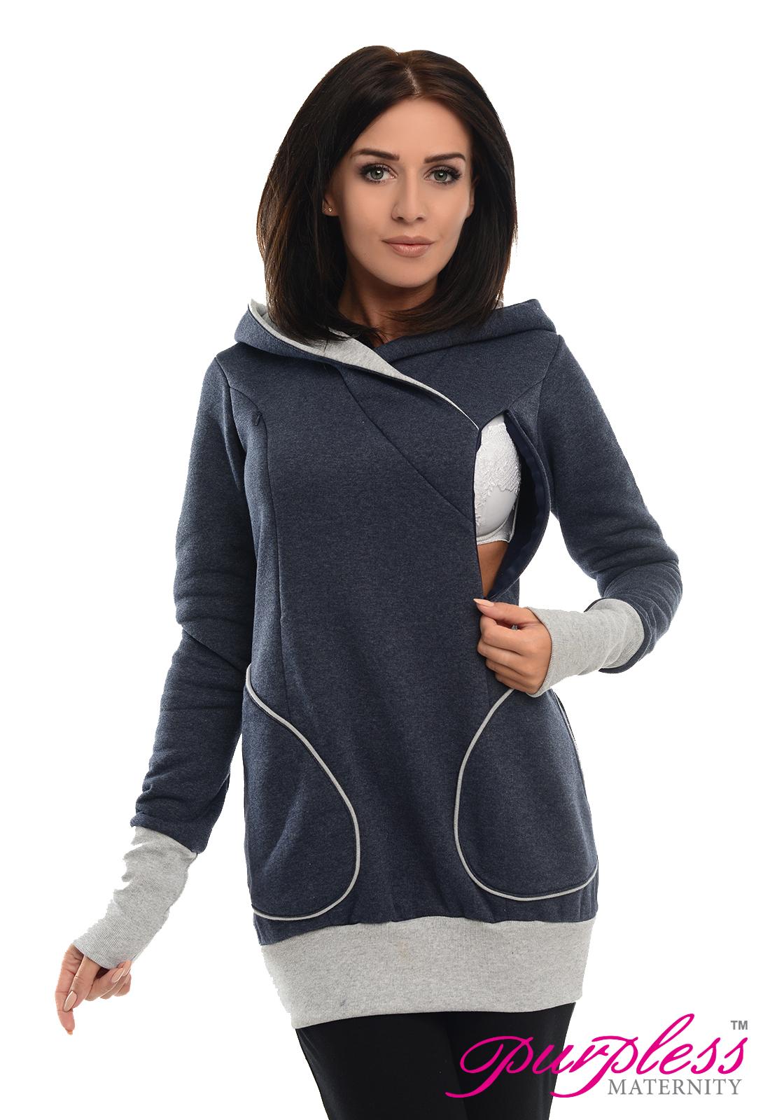 Purpless Maternity Pregnancy /& Nursing Sweatshirt With Cross Over Neckline B9056
