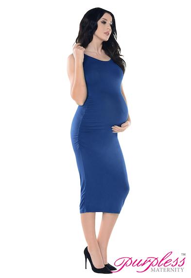 ce58682344117 Purpless Maternity Sleeveless Jersey Ruched Pregnancy Midi Dress ...